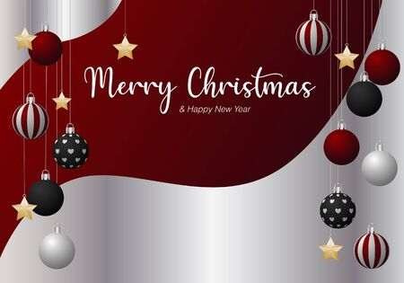 Christmas and New year red silver background decorated with red silver black ornaments ball and gold star vector