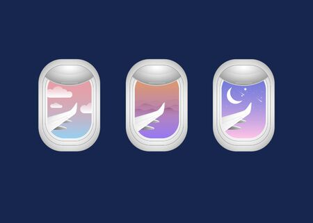 Airplane window shade with outside sky view sunrise sunset and night time on dark blue background vector Иллюстрация