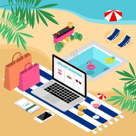 Isometric tropical summer e-commerce online shopping with laptop on the beach vector