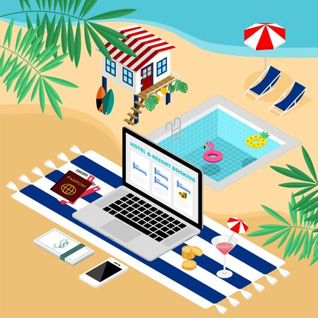 Isometric tropical summer e-commerce online hotel and resort booking with laptop on the beach vector Иллюстрация