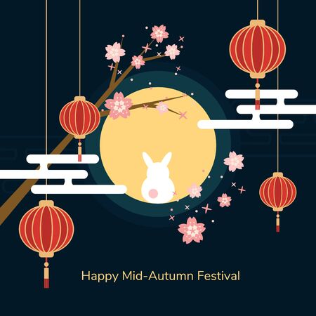 Minimal flat Happy mid-autumn festival poster in night scene with full moon rabbit red paper lantern and cherry blossom flowers vector
