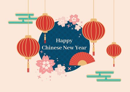 Minimal happy Chinese new year card in pastel color with red lantern red fan and pink cherry blossom flower vector