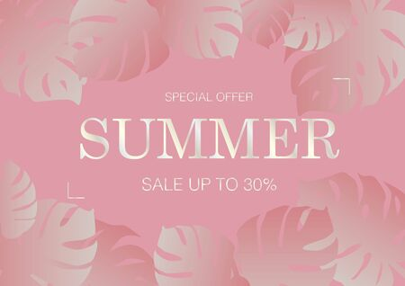 Luxury rose gold and pink summer beach e-commerce sale card background with monstera leaves vector