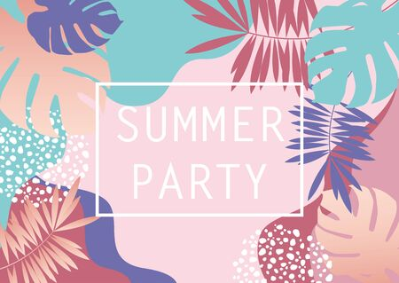 Pastel pink and blue tropical summer beach party invitation card background with monstera and palm leaves vector