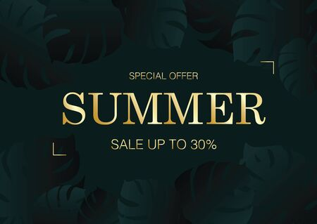 Luxury black and green summer beach e-commerce sale card background with monstera leaves vector