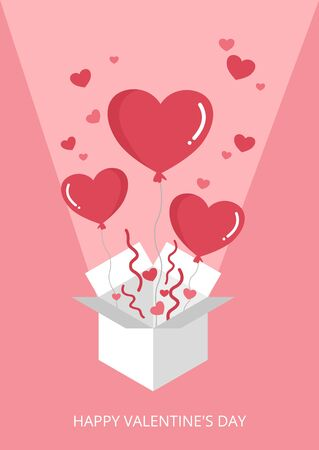 Sweet valentine's day heart balloon box exploding on pink background vector Иллюстрация