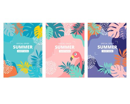 Pastel pink blue purple tropical summer beach sale poster background with monstera and palm leaves vector Иллюстрация