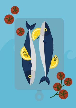 Minimal fresh Japanese Saba fish with lemon and tomato on pastel blue background vector Иллюстрация