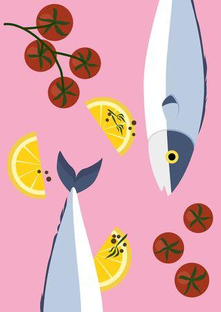Minimal fresh Japanese Saba fish with lemon and tomato on pastel pink background vector Иллюстрация