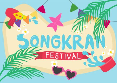 Tropical summer Songkran festival poster with water-gun kite and sunglasses decorated with palm tree border vector