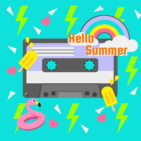 Retro summer party cassette on green background with pink heart and neon green thunder icon vector