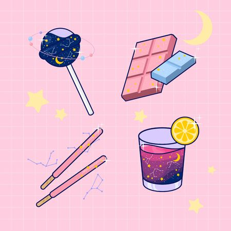 flat illustrate galaxy lollipop chocolate bar and cocktail drink on patel pink background vector