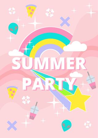 Retro 90s pastel goth sticker icon summer party poster decorate with alien pizza rainbow and star on pastel pink background vector