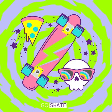 Retro 90s cruiser skateboard with skull and pizza icon on neon color background vector