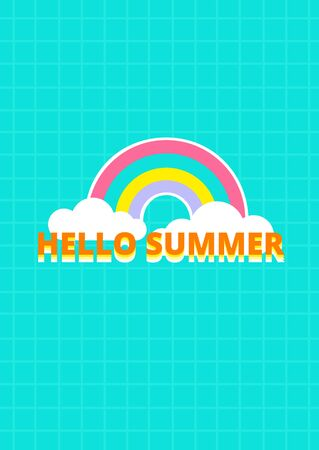 Hello summer text with pastel rainbow and cloud icon on green color background vector Иллюстрация