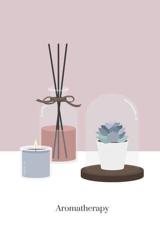Aromatherapy diffuser candle in sweet pastel color background decorated with succulent houseplant displayed in glass dome vector Иллюстрация