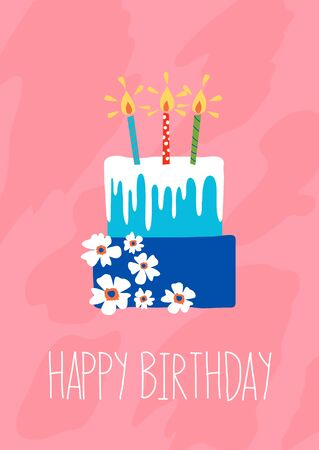 Blue happy birthday cake with white flowers and candles on pink background vector
