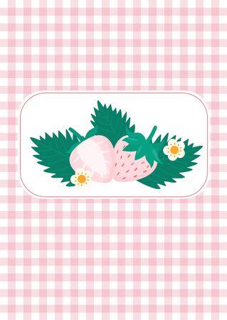 Cute pink Pine berries and flowers on pastel pink country plaid background vector