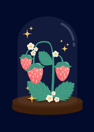 Cute pastel pink strawberries tree displayed in glass dome on deep blue night background vector