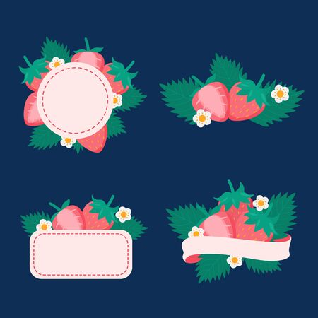 Cute pastel pink strawberries labels logo on deep blue background vector