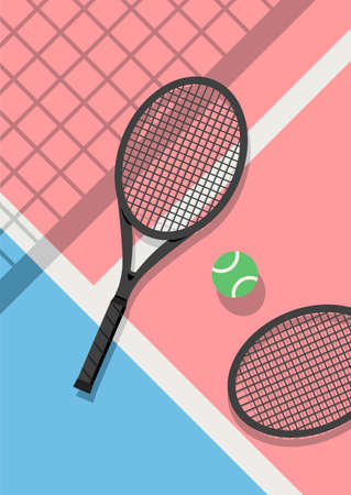 Cute pastel colors concept tennis rackets and tennis balls on court floor vector