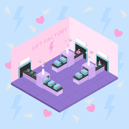 Isometric cute pastel toy gift factory interior vector