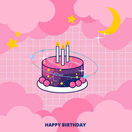 Cute fantasy galaxy birthday cake on pink background invitation card vector