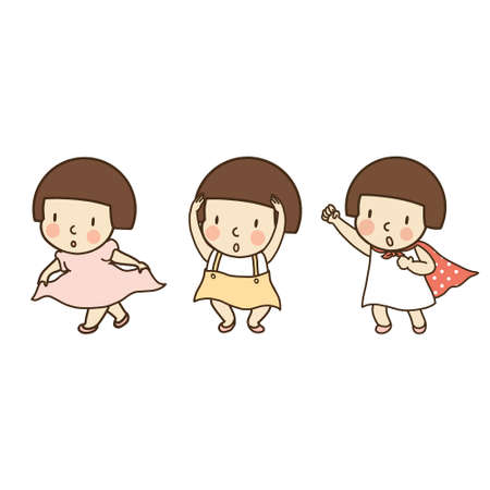 Vector illustration of little kid gesturing, thank you, okay  yes and fight. Family concept - body language for card, postcard, icon. Cartoon character drawing style. Isolated on white background. Ilustracja