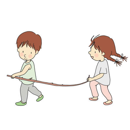 Vector illustration of little kid playing stick together with friend. Card and postcard. Cartoon character drawing style. Isolated on white background. Çizim