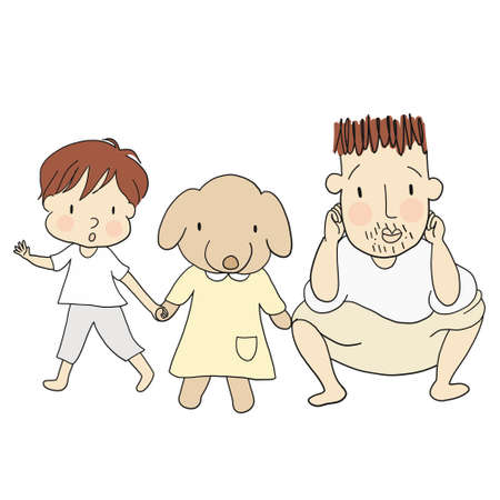 Vector illustration of dad and kid with dog. Family concept - happy father's day card, daddy and son &  daughter. Cartoon drawing style, isolated on white background.