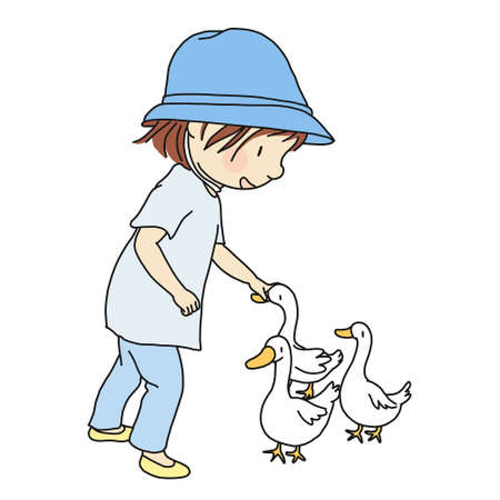 Vector illustration of little kid rubbing her lovely duck, gently on head. Card and postcard. Family concept - kid and pets. Cartoon character drawing style. Isolated on white background.
