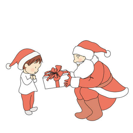 Vector illustration of Santa claus giving gift to little kid. Family concept - Merry xmas and  happy new year greeting card, postcard. Cartoon character drawing style. Isolated on white background.
