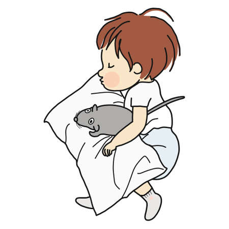 Little kid sleeping with rat doll in bed Çizim