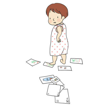 Grumpy kid standing with arms akimbo, frowning at you Illustration