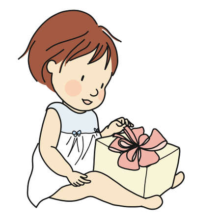 Kid with gift box Çizim