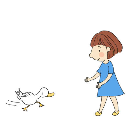 Little kid and duck