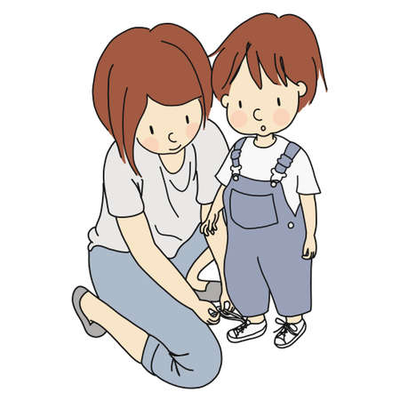 Vector illustration of mother helping cute little child tie shoelaces. Family concept - happy mother's day card, mother and child story. Cartoon character drawing style. Isolated on white background.