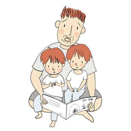 Vector illustration of dad reading children book with his little kids. Family concept - Happy father's day card, postcard. Cartoon character drawing style. Isolated on white background. Ilustrace