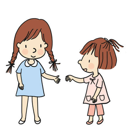 Vector illustration of two little kids coming to hold hands together. Family concept - siblings. Cartoon character drawing style. Isolated on white background.