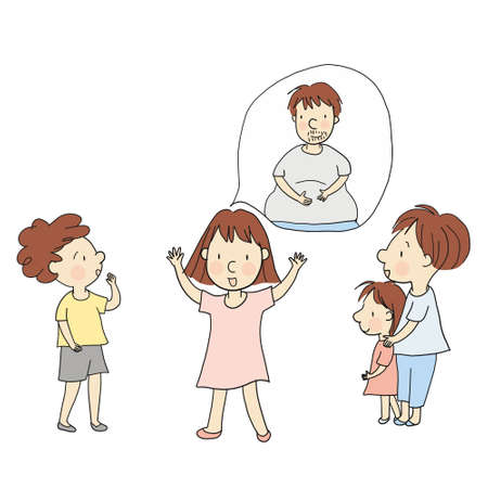 Family concept cartoon character drawing style. Çizim
