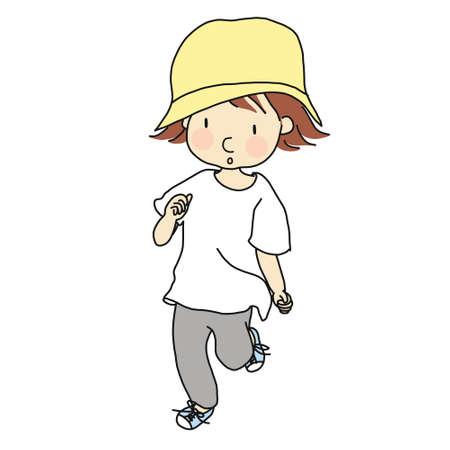 Illustration of little kid running. Çizim