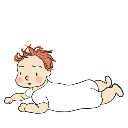 Illustration of toddler in prone position.