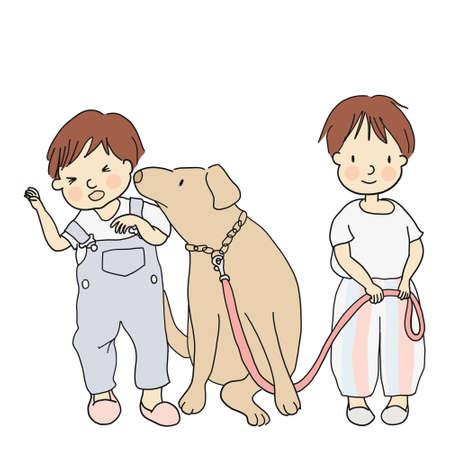 Illustration of little kids and a dog.