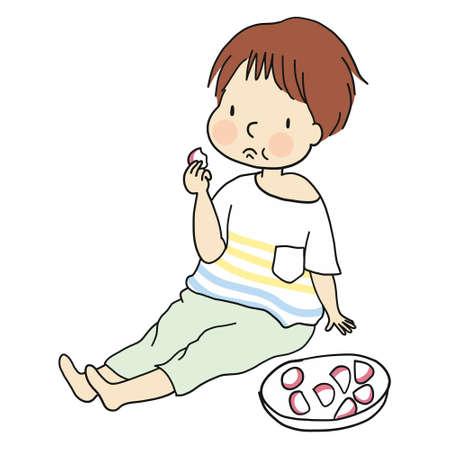 Illustration of little kid sitting on floor and eating food. Illustration