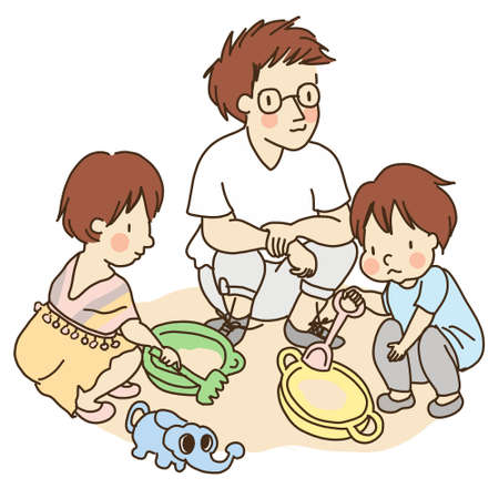 Illustration of dad and little kids playing with sand.
