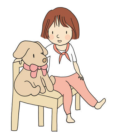 Vector illusion of little kid sitting on chair with puppy doll, labrador retriever. Cartoon character drawing style. Isolated on white background.