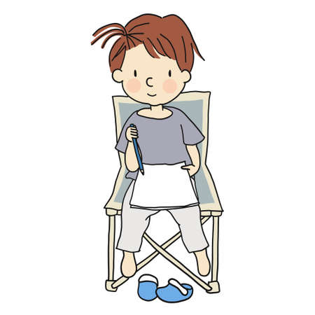 school: Vector illustration of little cute kid sitting on folding chair and drawing a picture with pencil. Cartoon character drawing style. Isolated on white background.