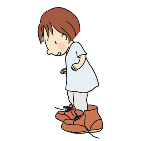 Vector illustration of little kid wearing daddys big brown leather shoes. Cartoon character drawing style. Isolated on white background. Çizim