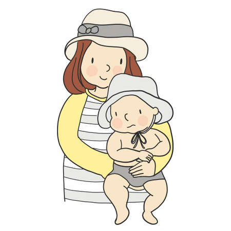 Vector illustration of mom carrying baby in her arms. Family concept - mother and kid. Cartoon character drawing style. Isolated on white background. Çizim