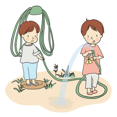 Vector illustration of two little kids playing with water hose in yard. Family concept. Cartoon character drawing style. Isolated on white background. Illustration